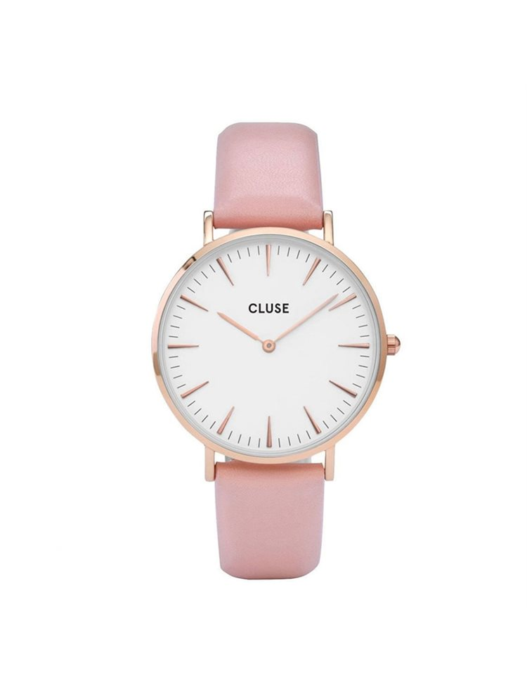 Cluse La Boheme Ladies Rose Gold/Pink Leather Strap CL18014