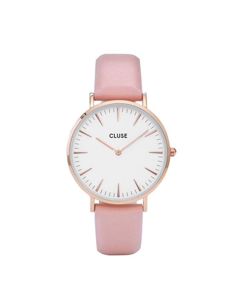 Cluse La Boheme Ladies Rose Gold/Pink Leather Strap CL18014