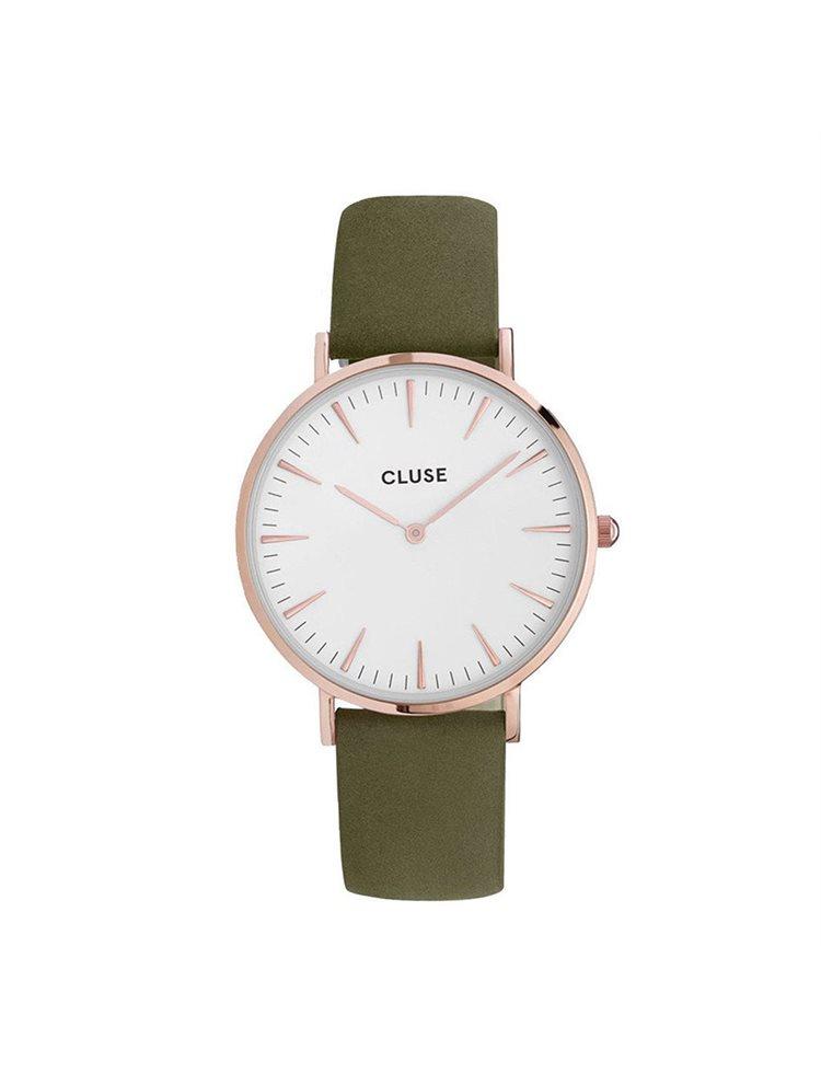 Cluse La Boheme Unisex Rose Gold Green Leather Strap CL18023