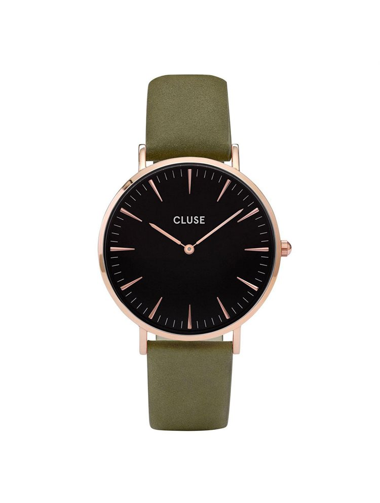 CLUSE La Boheme Rose Gold Black/Olive Green Leather Strap CL18024