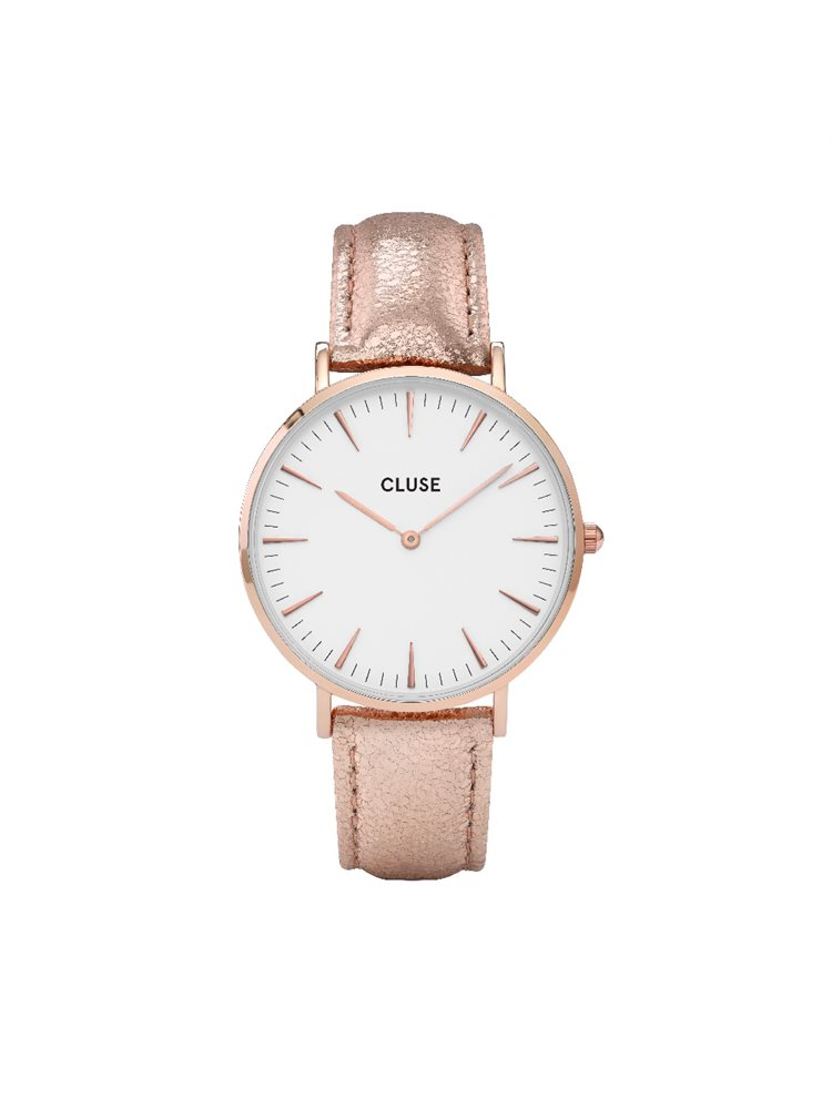 Cluse La Boheme Ladies Rose Gold/Rose Gold Leather Strap CL18030