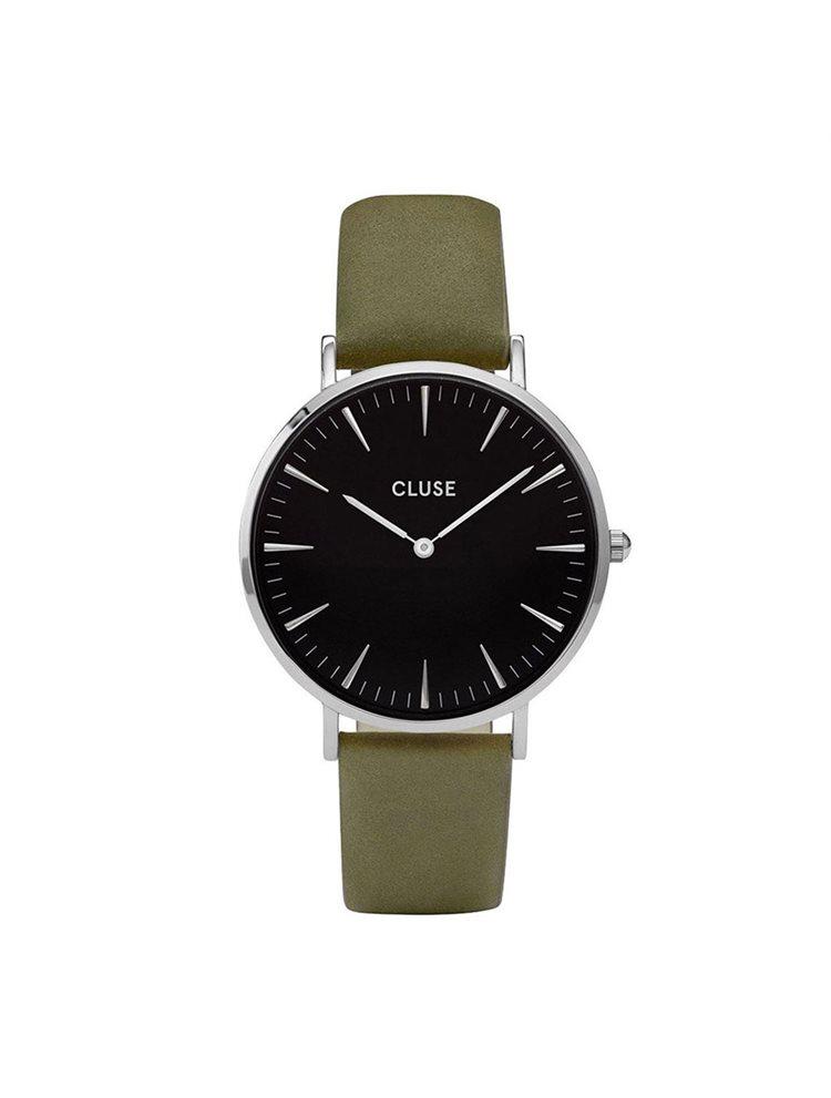 Cluse La Boheme Unisex Silver/Olive Leather Strap CL18228