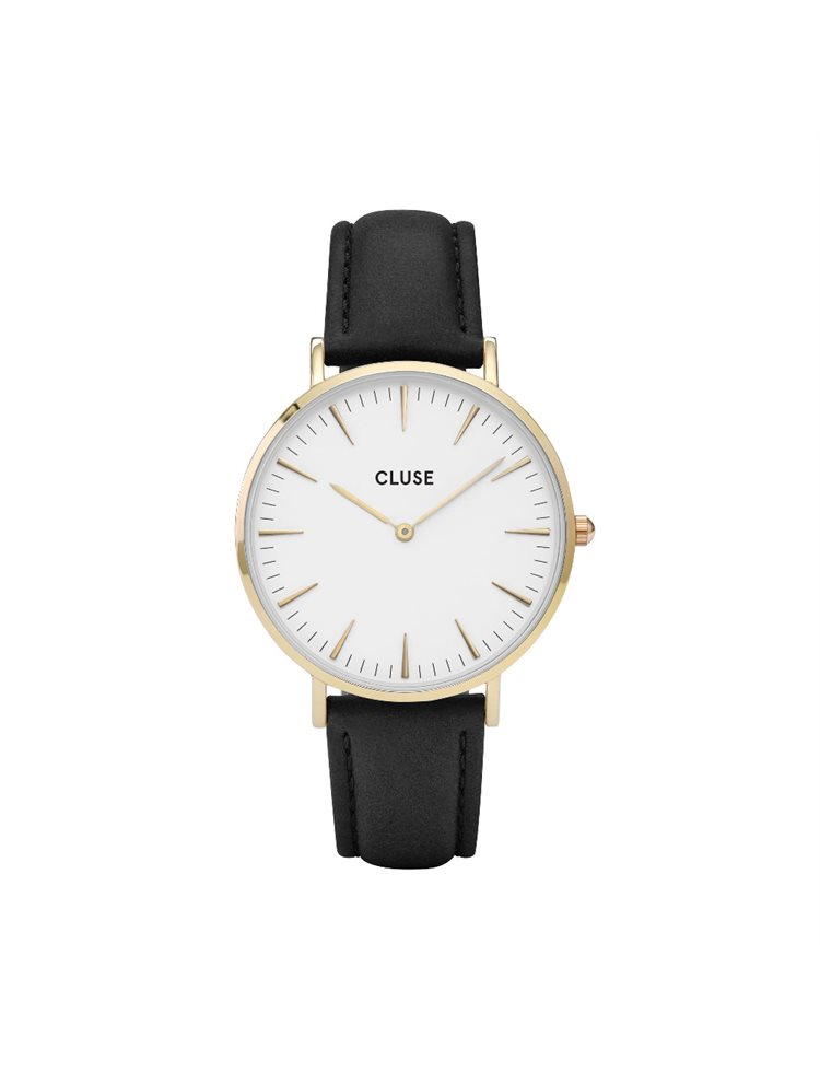 Cluse La Boheme Unisex Gold/Black Leather Strap CL18406