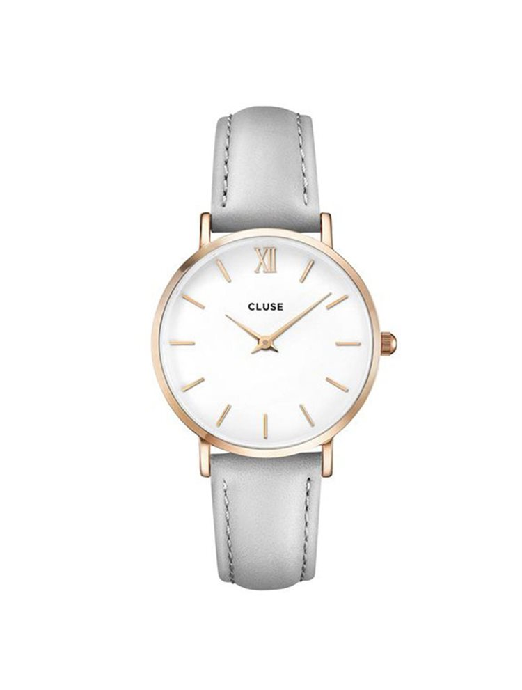 Cluse Minuit Ladies Rose Gold/Grey Leather Strap CL30002