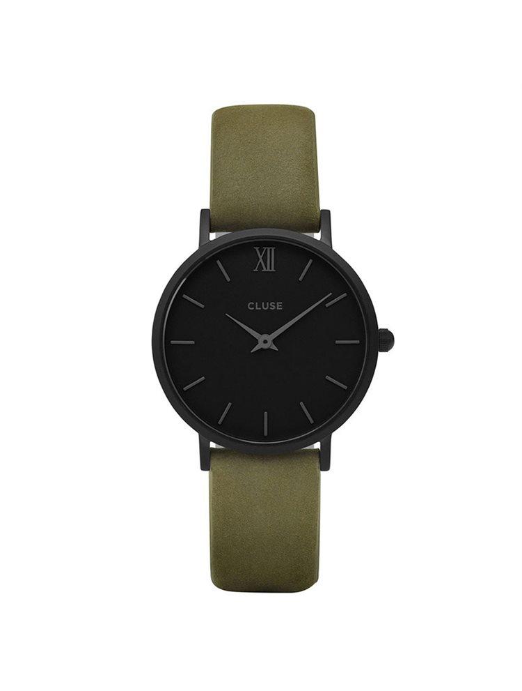 Cluse Minuit Ladies Black/Green Leather Strap CL30007