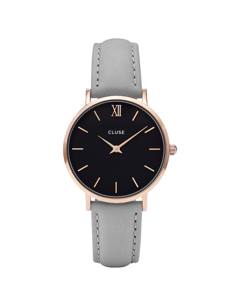 Cluse Minuit Ladies Rose Gold/Grey Leather Strap CL30018