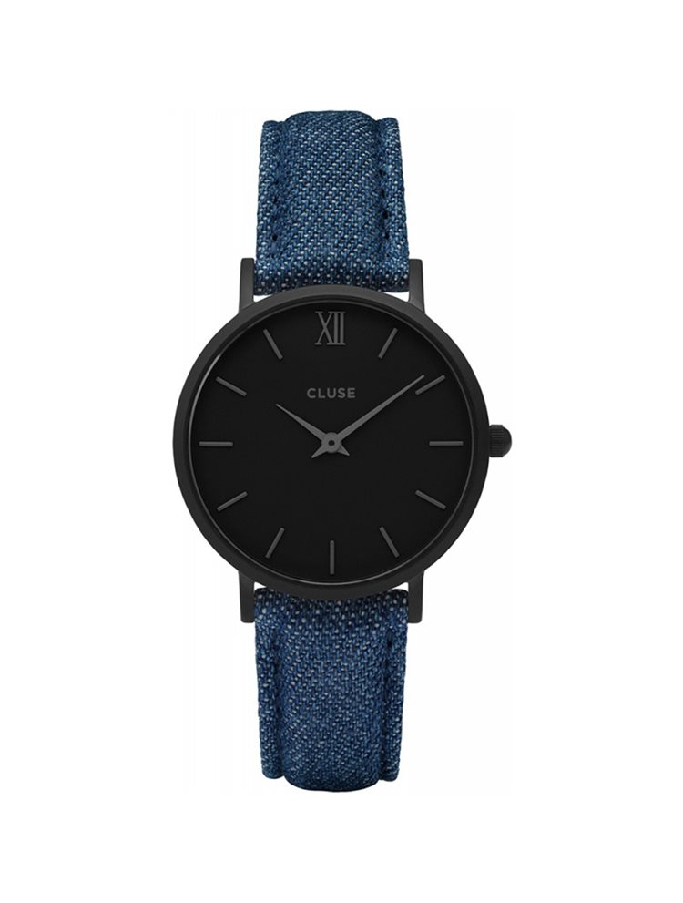 Cluse Minuit Ladies Black/Denim Fabric Strap CL30031