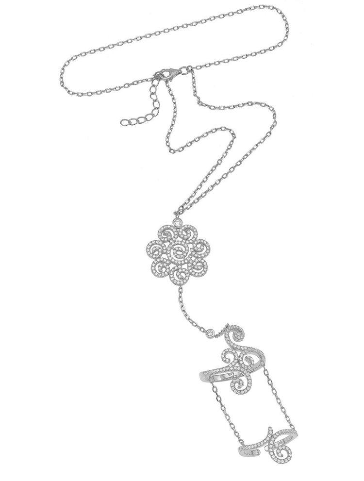 Βραχιόλι δαχτυλίδι που ενώνεται με αλυσίδα με εντυπωσιακό δαχτυλίδι από ασήμι με πέτρες ζιργκόν