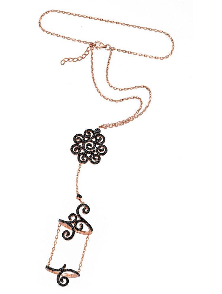 Βραχιόλι δαχτυλίδι που ενώνεται με αλυσίδα με εντυπωσιακό δαχτυλίδι από ρόζ επιχρυσωμένο ασήμι με πέτρες ζιργκόν σε μαύρο χρώμα