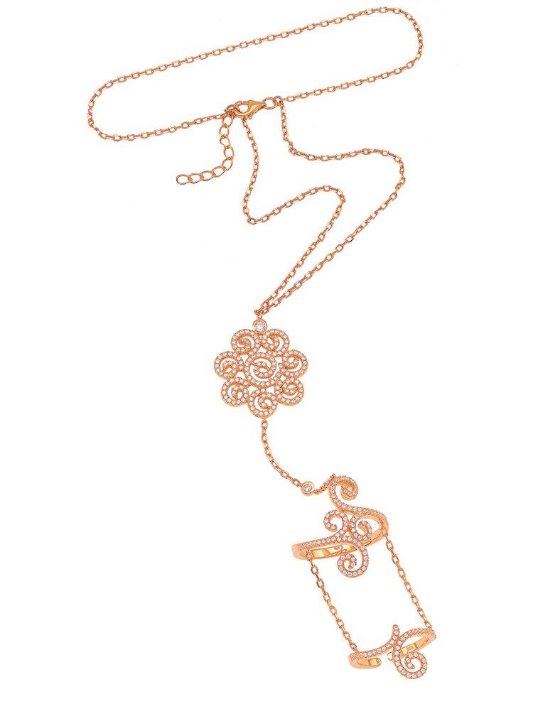 Βραχιόλι δαχτυλίδι που ενώνεται με αλυσίδα με εντυπωσιακό δαχτυλίδι από ρόζ επιχρυσωμένο ασήμι με πέτρες ζιργκόν
