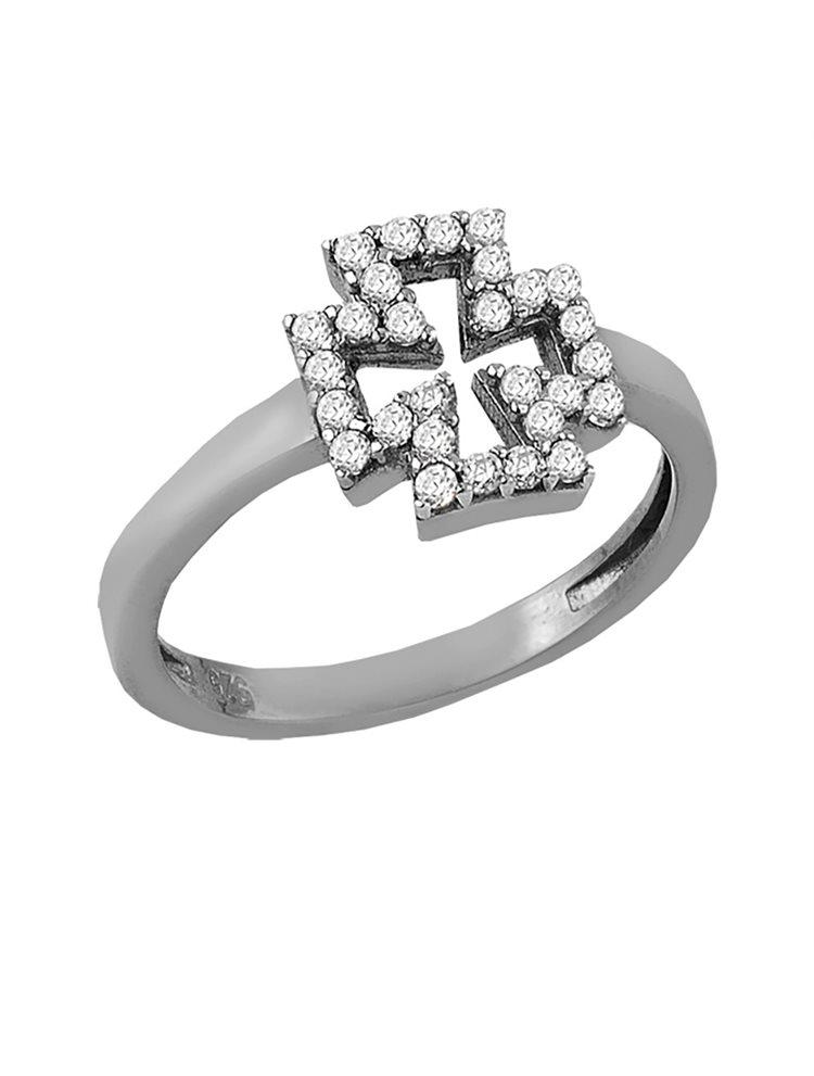 Ασημένιο δαχτυλίδι με σταυρουδάκι και με πέτρες ζιργκόν
