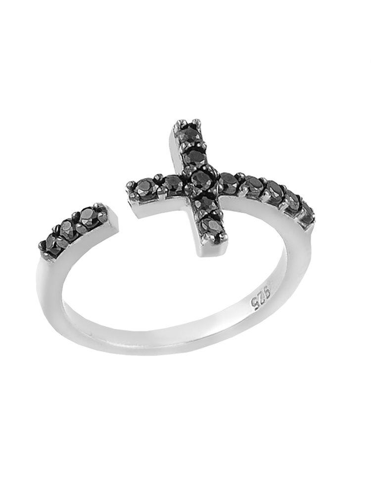 Ασημένιο δαχτυλίδι με σταυρό και με πέτρες ζιργκόν
