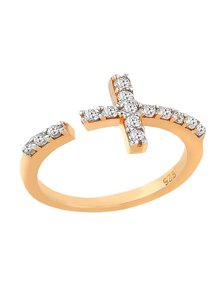 Δαχτυλίδι από ρόζ επιχρυσωμένο ασήμι με σταυρό και με πέτρες ζιργκόν