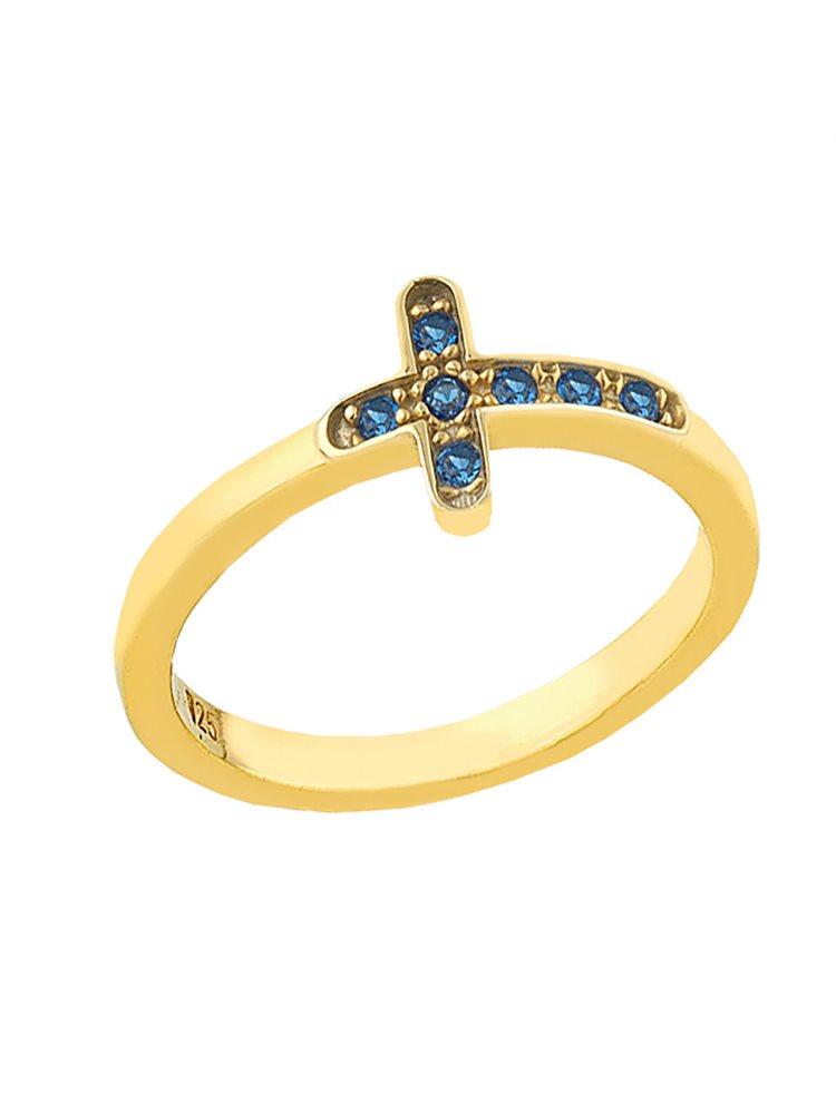 Δαχτυλίδι από επιχρυσωμένο ασήμι με σταυρουδάκι και με πέτρες ζιργκόν