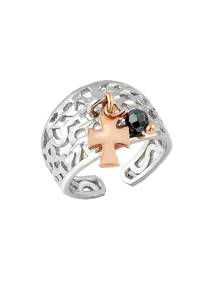 Ασημένιο δαχτυλίδι με σταυρουδάκι