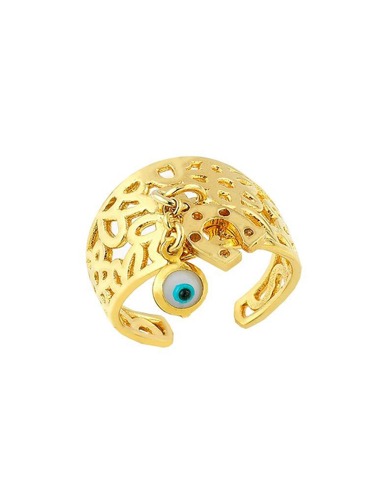 Δαχτυλίδι ματάκι από επιχρυσωμένο ασήμι