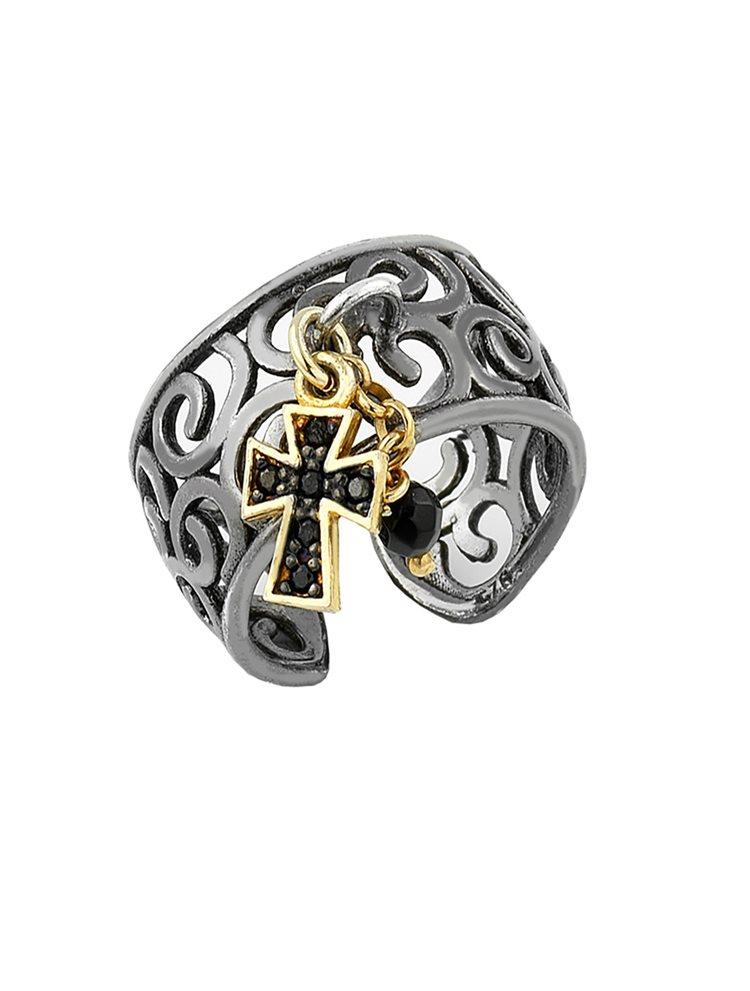 Ασημένιο δαχτυλίδι με σταυρουδάκι και μαύρο πλατίνωμα