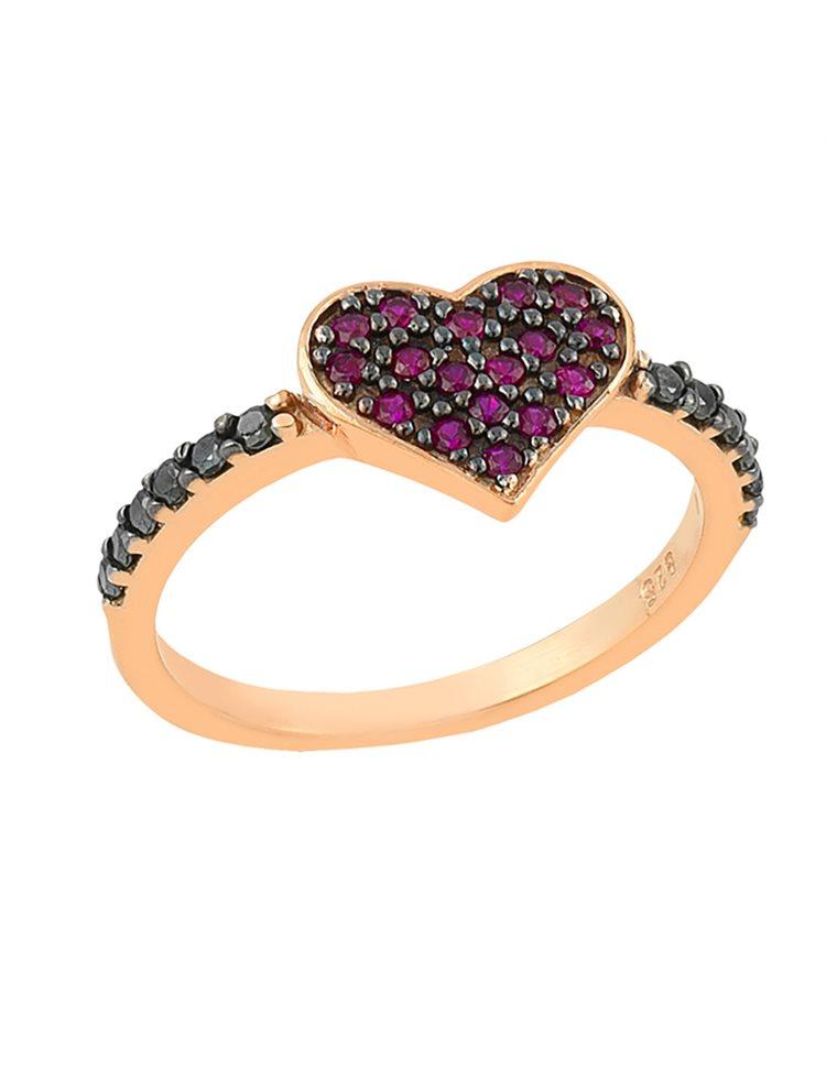 Δαχτυλίδι από ρόζ επιχρυσωμένο ασήμι και με πέτρες ζιργκόν