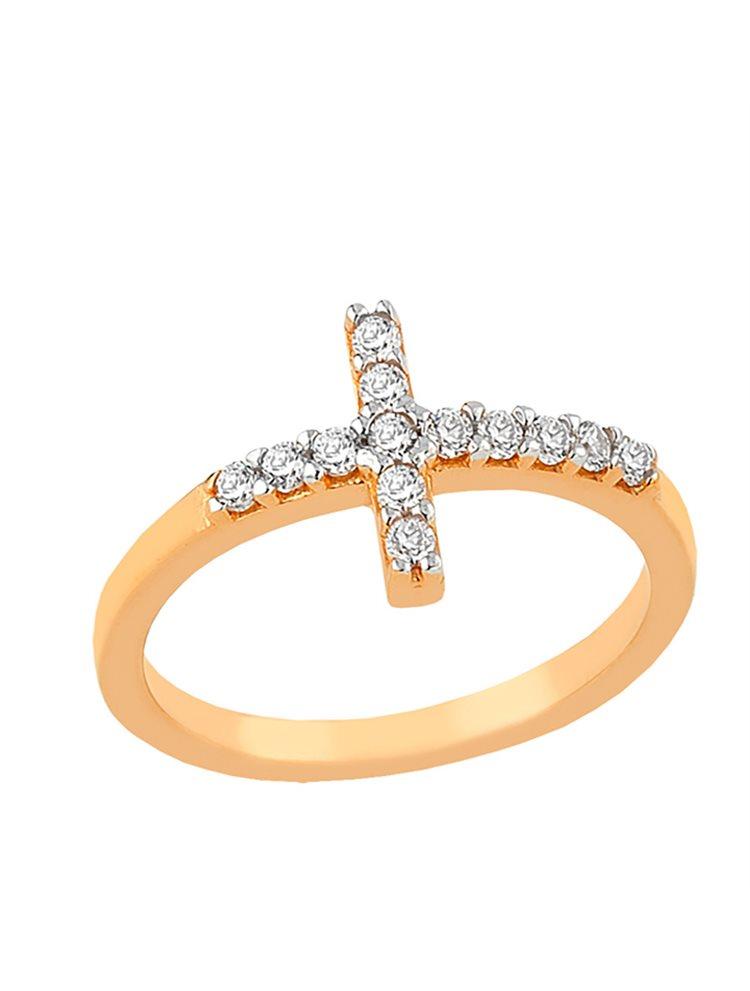 Δαχτυλίδι από ρόζ επιχρυσωμένο ασήμι με σταυρουδάκι και με πέτρες ζιργκόν