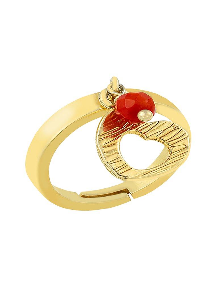 Δαχτυλίδι από επιχρυσωμένο ασήμι με πέτρες ζιργκόν και με στοιχείο κρεμαστό καρδιά