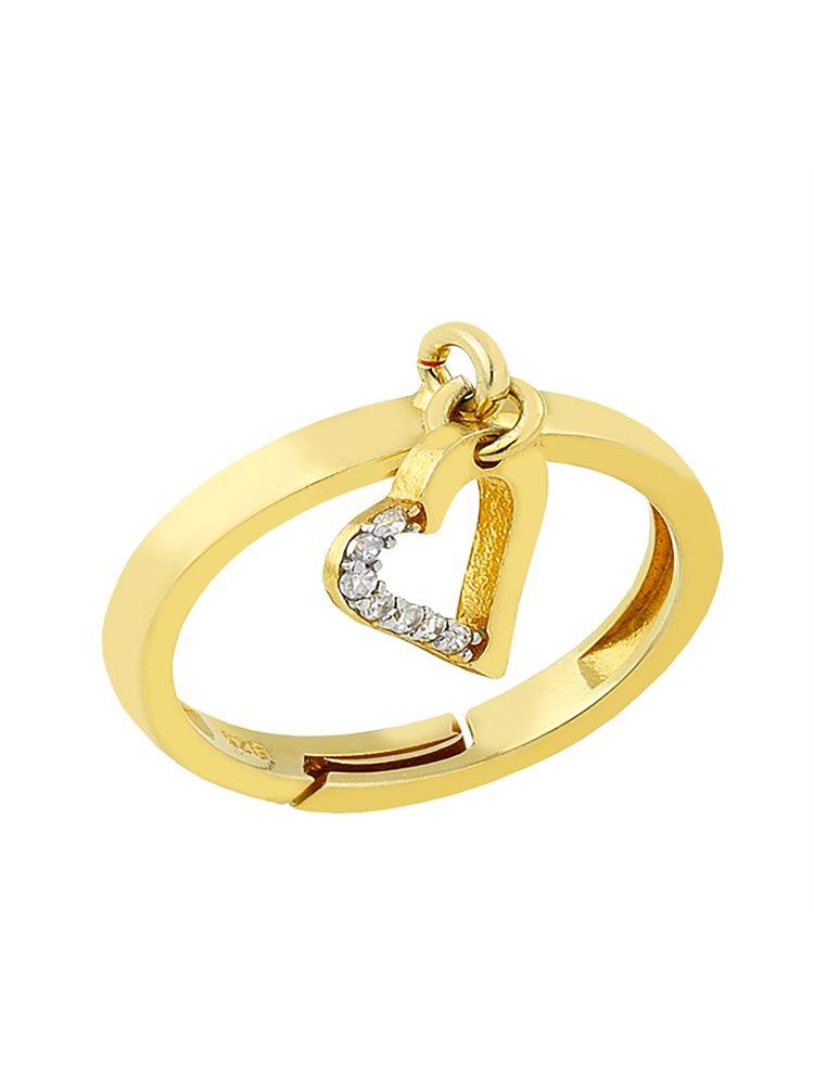 Δαχτυλίδι από επιχρυσωμένο ασήμι με πέτρες ζιργκόν και με στοιχείο κρεμαστό καρδούλα