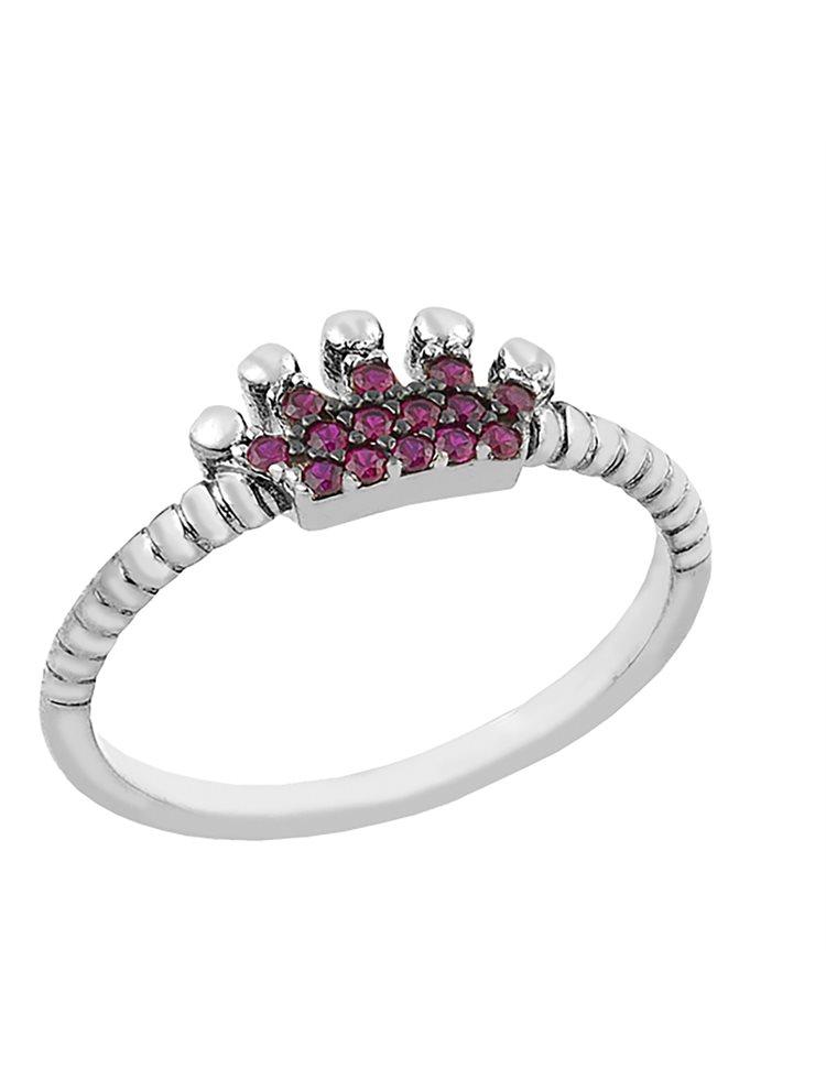 Δαχτυλίδι από ασήμι με κορώνα από πέτρες ζιργκόν