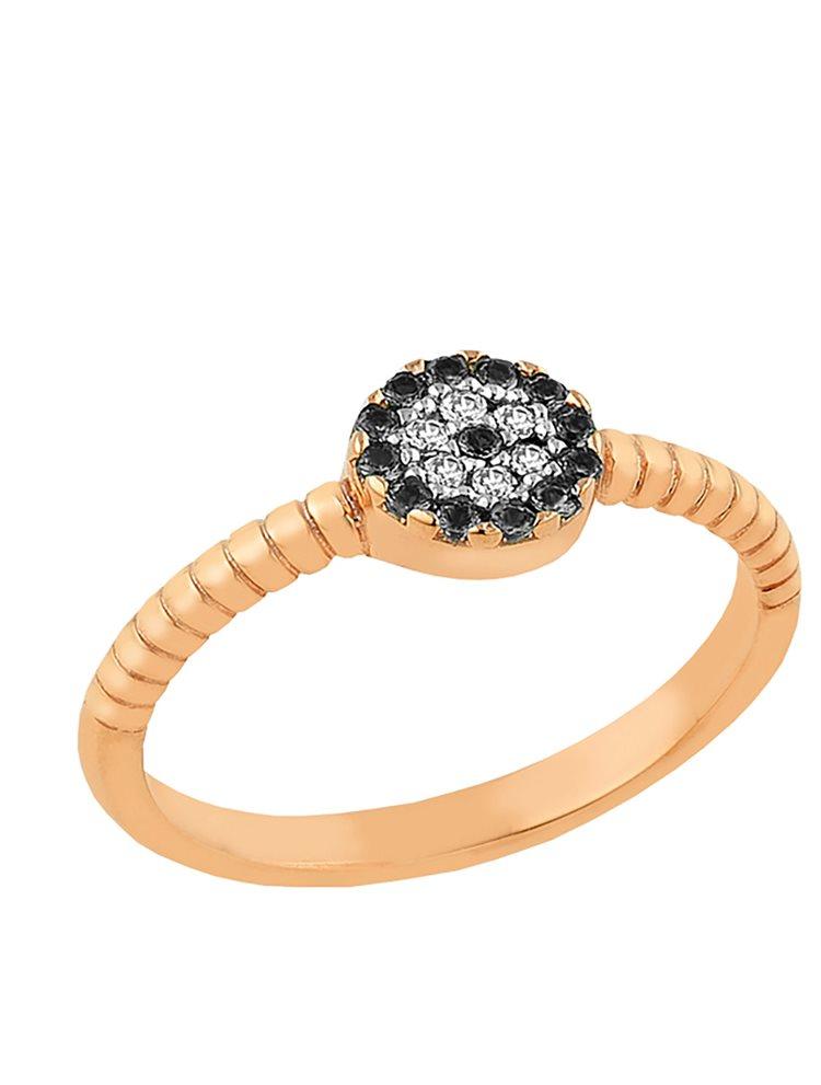 Δαχτυλίδι από ρόζ επιχρυσωμένο ασήμι με ματάκι απο πέτρες ζιργκόν