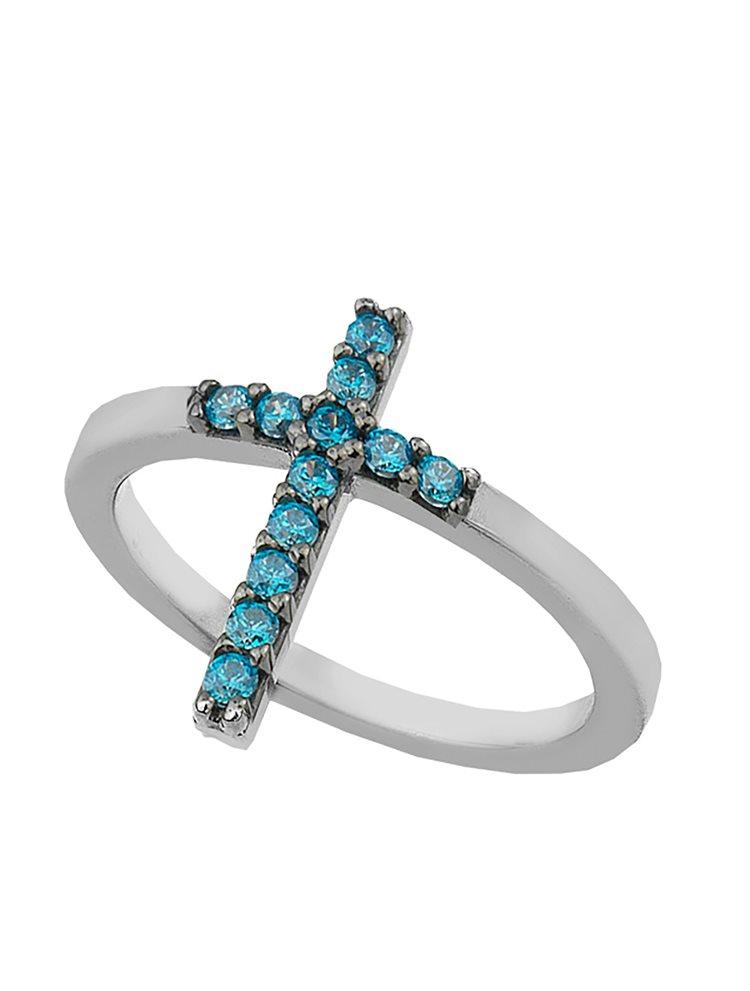 Δαχτυλίδι από ασήμι με σταυρό από πέτρες ζιργκόν