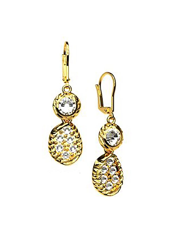 Εντυπωσιακά σκουλαρίκια με πέτρες Swarovski collection Aeolus από επιχρυσωμένο ασήμ