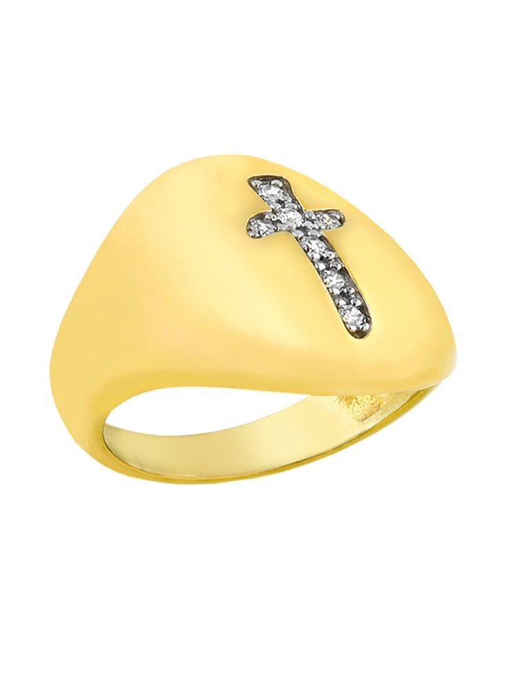 Δαχτυλίδι από επιχρυσωμένο ασήμι 925 με σταυρό