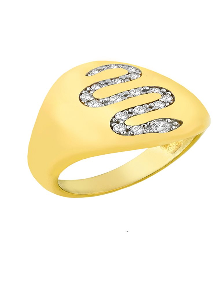 Δαχτυλίδι από επιχρυσωμένο ασήμι 925 με φίδι