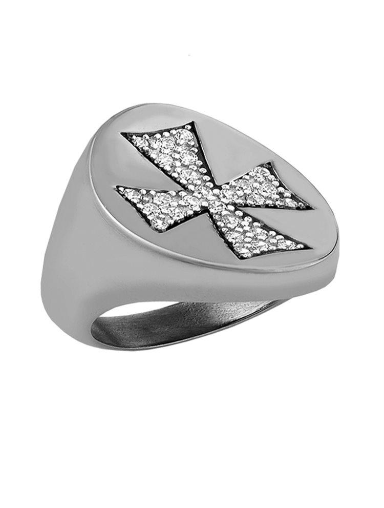 Δαχτυλίδι από ασήμι 925 με σταυρό