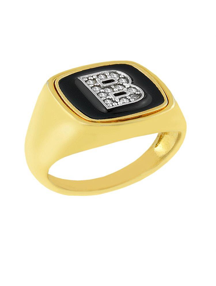 Δαχτυλίδι από επιχρυσωμένο ασήμι 925 με το μονόγραμμα Β 34794ac4539