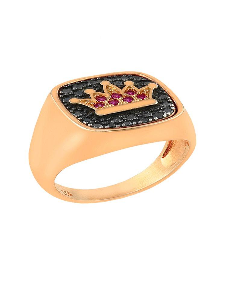 Δαχτυλίδι από ρόζ επιχρυσωμένο ασήμι 925 με κορώνα και πέτρες ζιργκόν