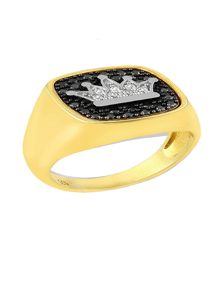 Δαχτυλίδι από επιχρυσωμένο ασήμι 925 με κορώνα και πέτρες ζιργκόν