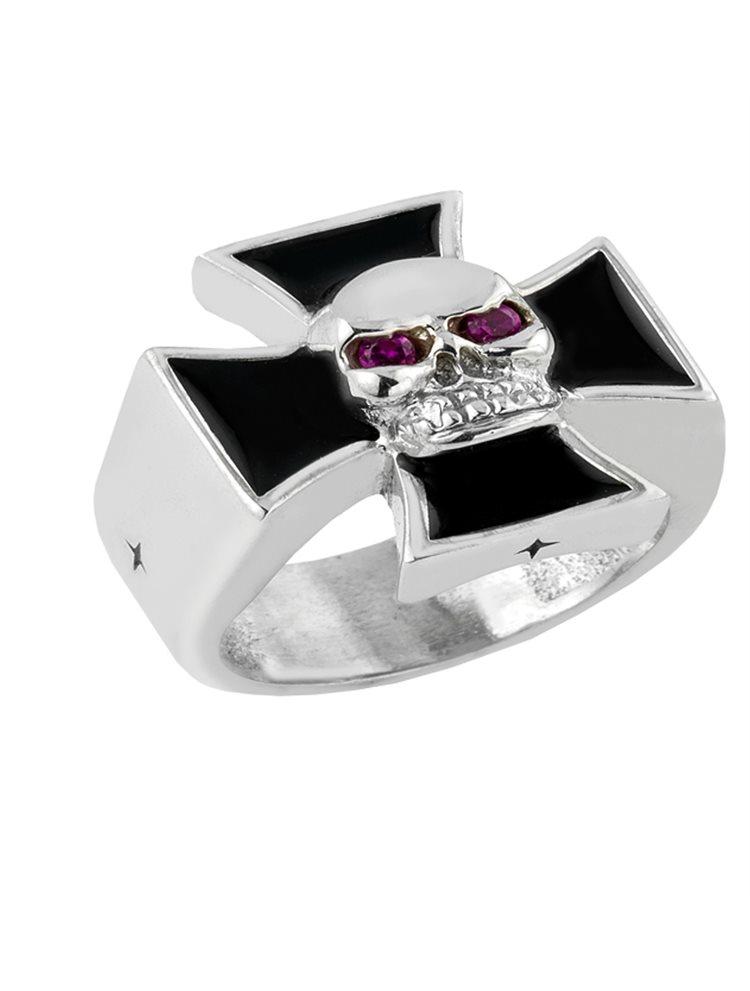 Δαχτυλίδι από ασήμι με σταυρό και νεκροκεφαλή