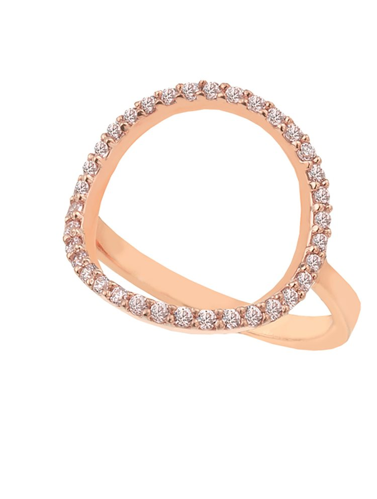 Δαχτυλίδι από ρόζ επιχρυσωμένο ασήμι με κύκλο από πέτρες ζιργκόν