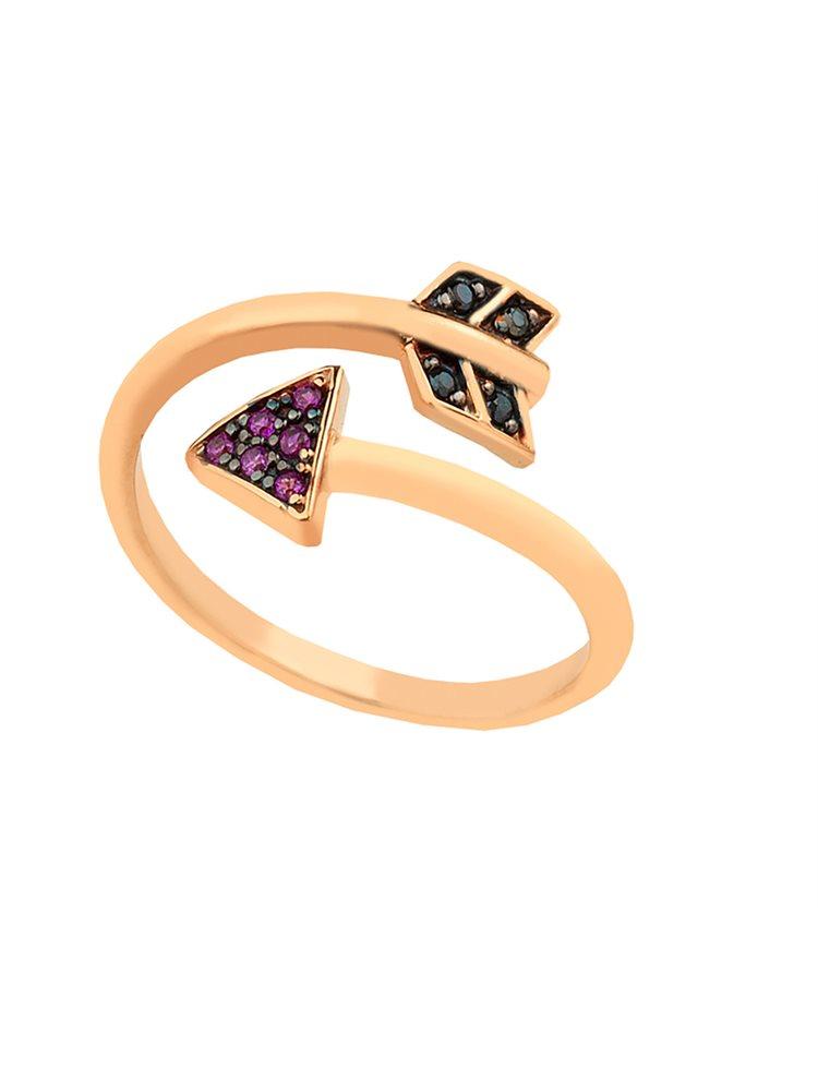 Δαχτυλίδι από ρόζ επιχρυσωμένο ασήμι με σχήμα βέλος και πέτρες ζιργκόν