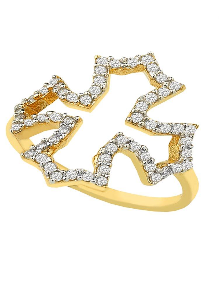 Δαχτυλίδι από επιχρυσωμένο ασήμι με εντυπωσιακό σταυρό από πέτρες ζιργκόν