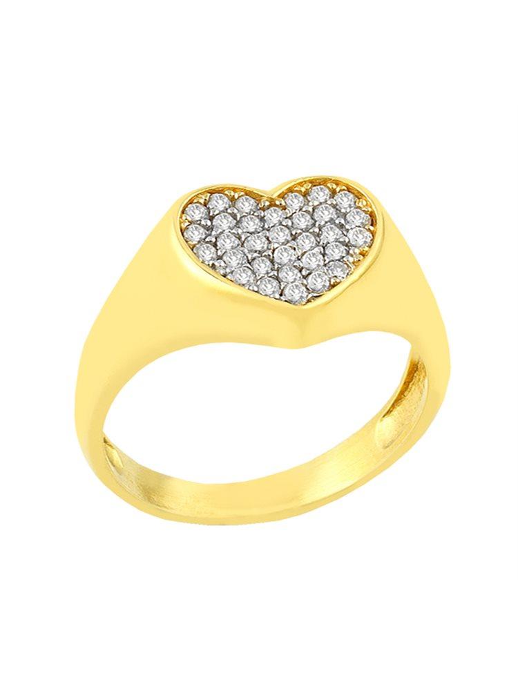 Δαχτυλίδι από επιχρυσωμένο ασήμι με σχέδιο καρδιά από πέτρες ζιργκόν