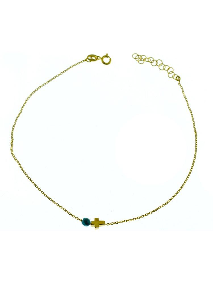Μοντέρνo βραχιόλι ποδιού από επιχρυσωμένο ασήμι με σταυρουδάκι και πέτρα τιρκούαζ