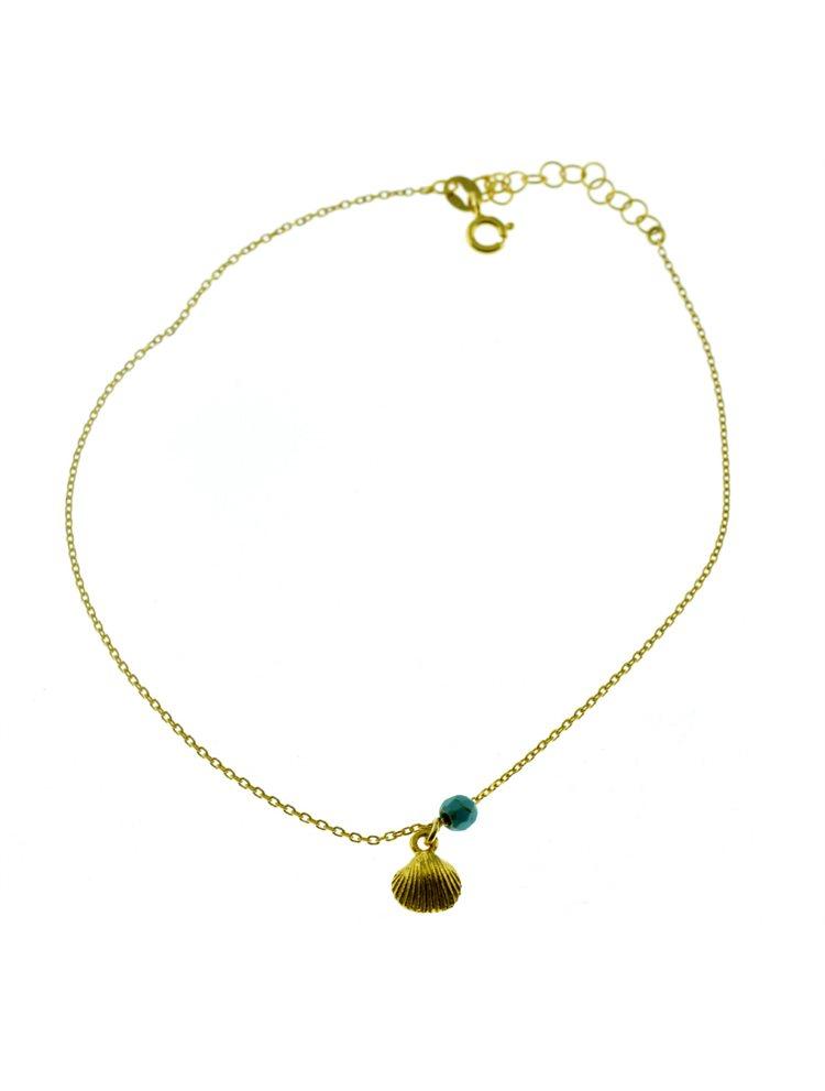 Μοντέρνo βραχιόλι ποδιού από επιχρυσωμένο ασήμι με αχιβάδα και πέτρα τιρκούαζ