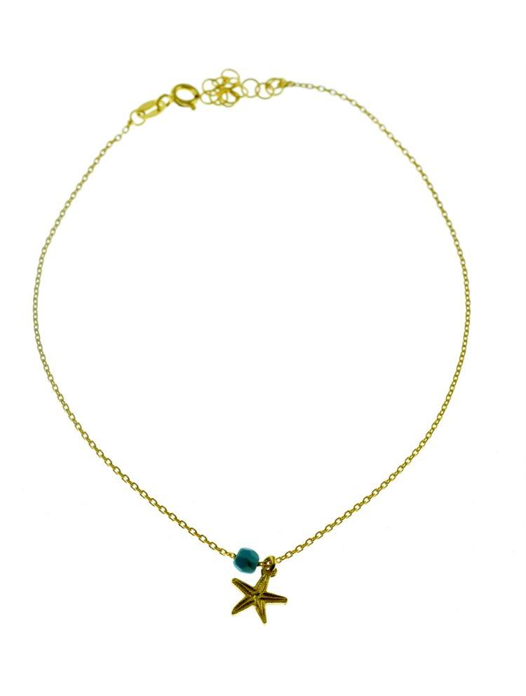 Μοντέρνo βραχιόλι ποδιού από επιχρυσωμένο ασήμι με αστερία και πέτρα τιρκουάζ