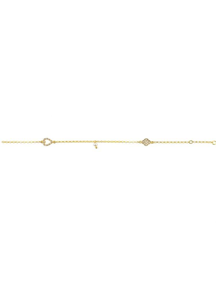 Διακριτικό βραχιόλι από επιχρυσωμένο ασήμι με καρδούλα και σταυρουδάκι