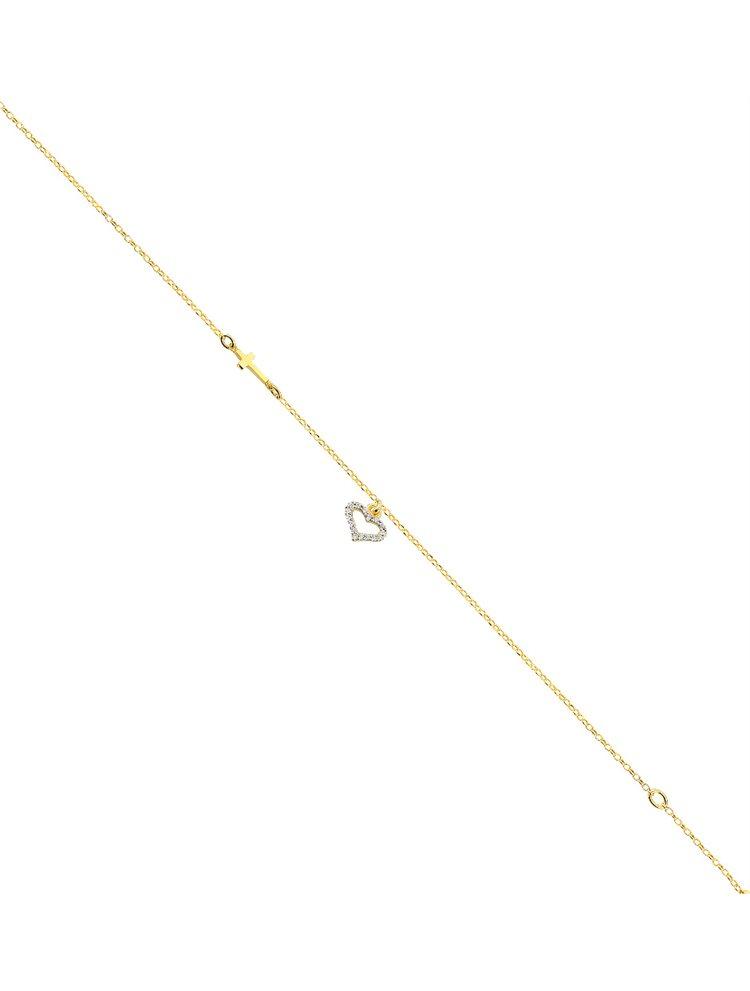Διακριτικό βραχιόλι από επιχρυσωμένο ασήμι με σταυρουδάκι και καρδούλα