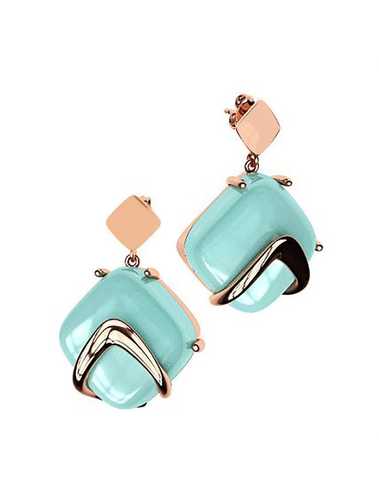 Εντυπωσιακά σκουλαρίκια από ρόζ επιχρυσωμένο ασήμι συλλόγη Colors με συνθετική πέτρα