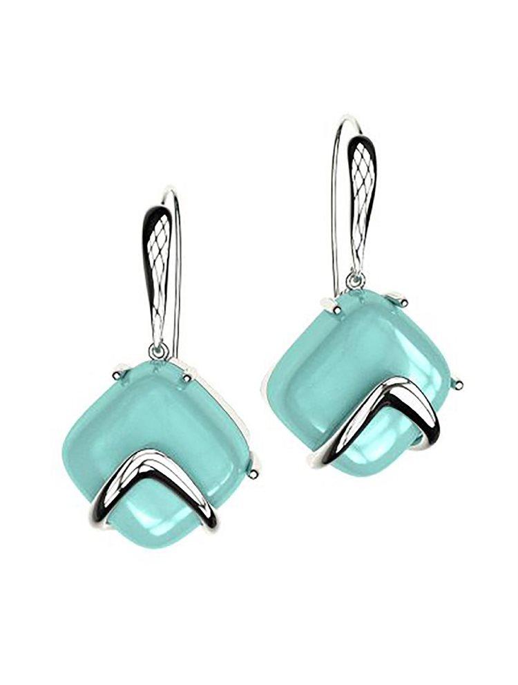 Εντυπωσιακά σκουλαρίκια από ασήμι συλλόγη Colors με συνθετική πέτρα