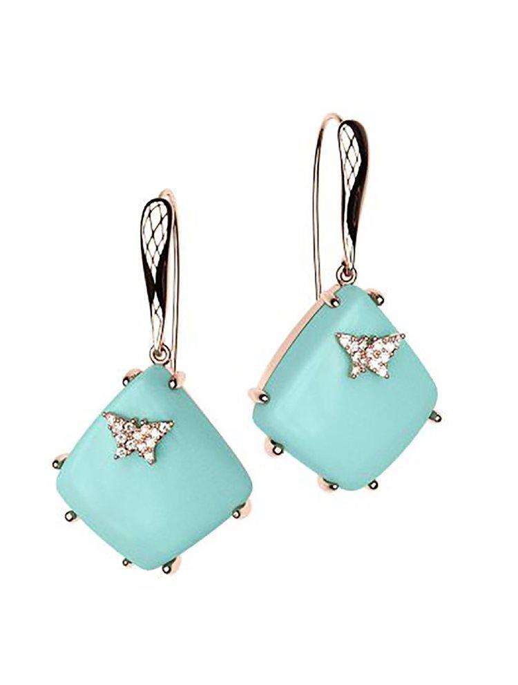 Εντυπωσιακό ζευγάρι σκουλαρίκια από ρόζ επιχρυσωμένο ασήμι συλλόγη Colors με συνθετική πέτρα και πέτρες swarovski