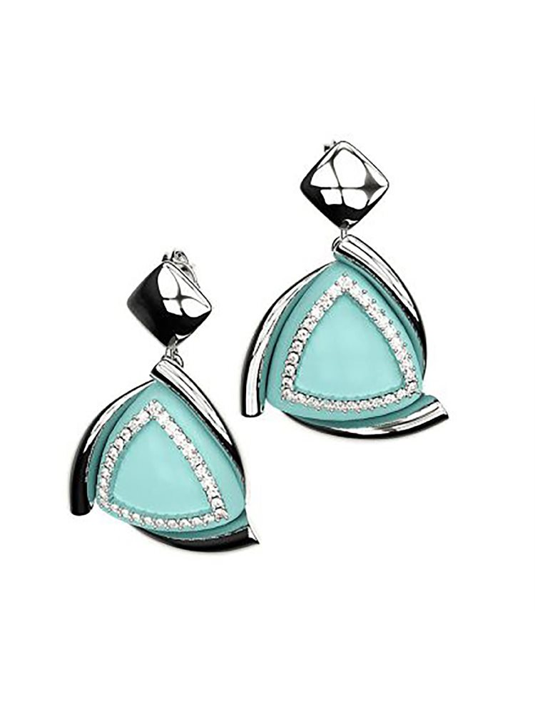 Εντυπωσιακό ζευγάρι σκουλαρίκια από ασήμι συλλόγη Colors με συνθετική πέτρα και πέτρες swarovski