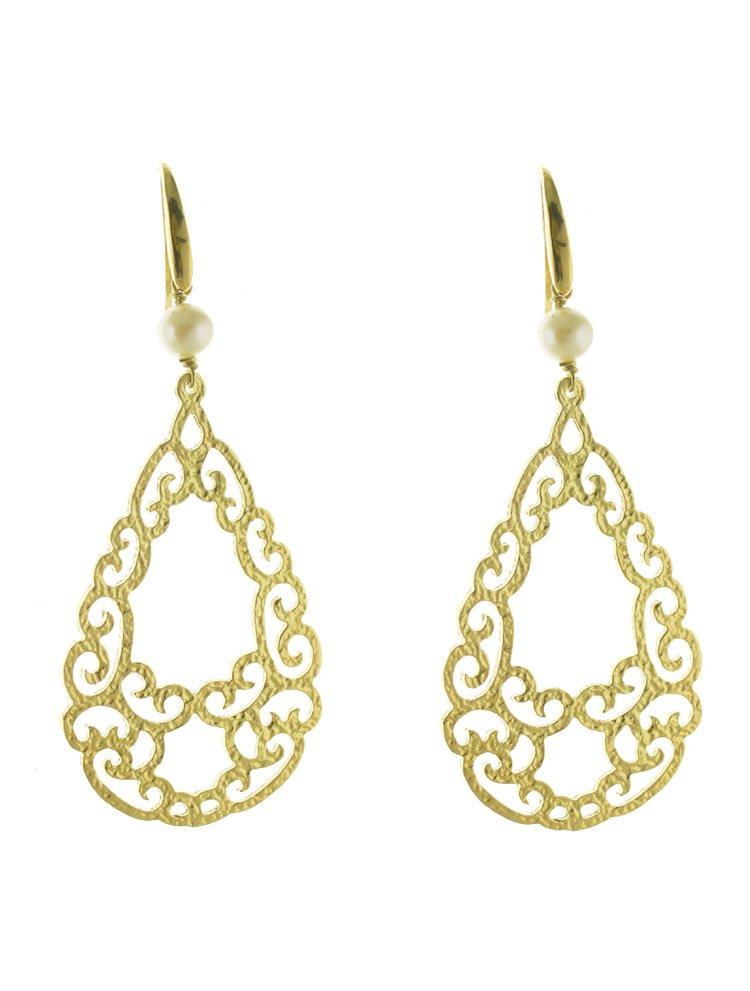 Χειροποίητο εντυπωσιακό ζευγάρι σκουλαρίκια boho style από επιχρυσωμένο ασήμι με μαργαριτάρι